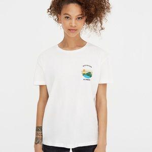 Pull & Bear vintage sun white basic casual T-shirt